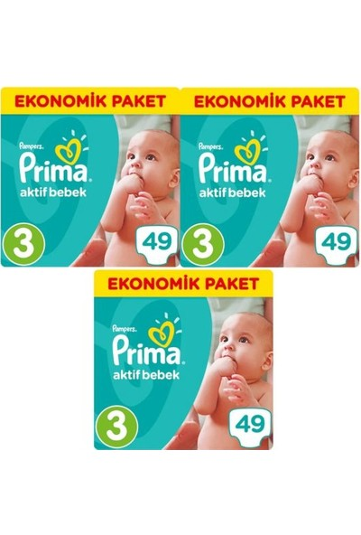 Prima 3 Beden Bebek Bezi Ekonomik Paket 5-9 kg (3x49) 147 Adet