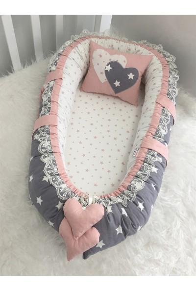 Modastra Baby Nest Gri ve Pudra Yıldızlı Kombin Lüx Baby Nest