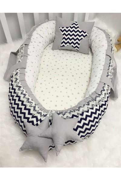 Modastra Baby Nest Lacivert Zigzag ve Gri Yıldız Kombin Lüx Baby Nest
