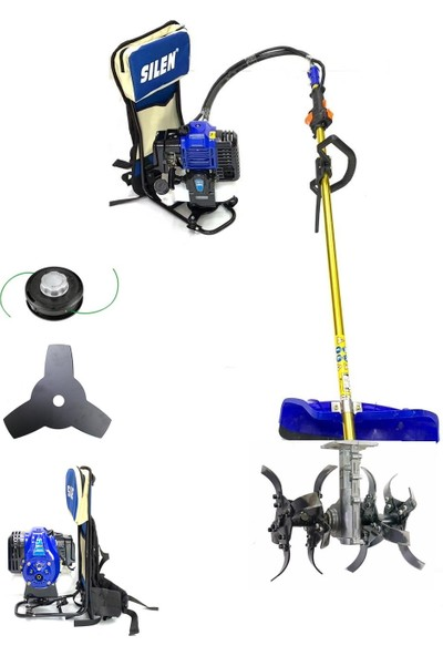 Silen Toprak Çapalama Makinesi + Sırt Tırpan 4.4 Hp 3.2 Kw