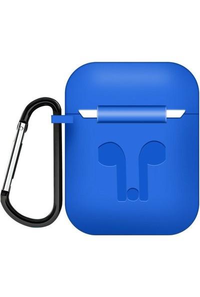 Tonmeister MAKT Apple Airpods Silikon Kılıf ve Kulaklık Askısı Mavi