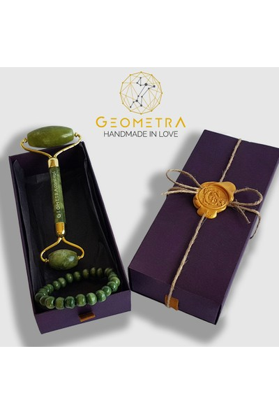 Geometra Derma Jade Roller Premium Yeşim Taşı Masaj Aleti