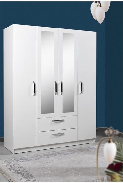 Hepsi Home Gm538 Smartline 4 Kapı 2 Çekmeceli Aynalı Gardırop