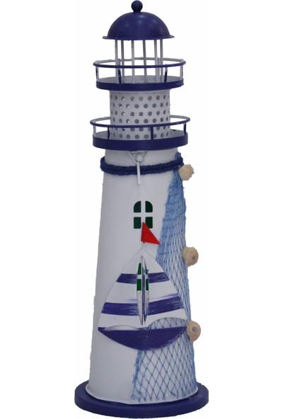 Işıklar Ferforje Deniz Feneri Dekoratif Obje LED Işıklı Masa Süsü 28 cm