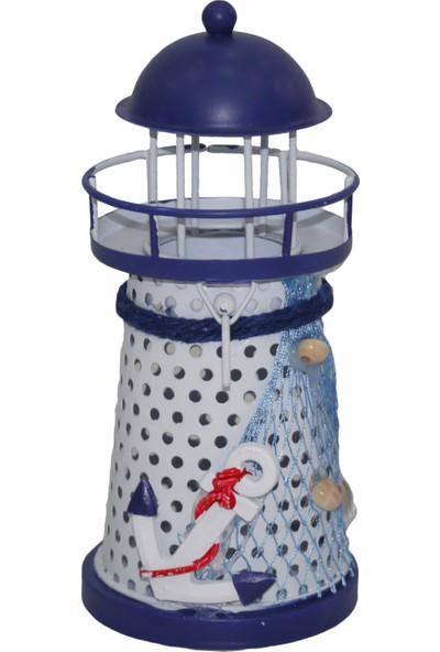 Işıklar Ferforje Deniz Feneri Dekoratif Obje LED Işıklı Masa Süsü 14.5 cm