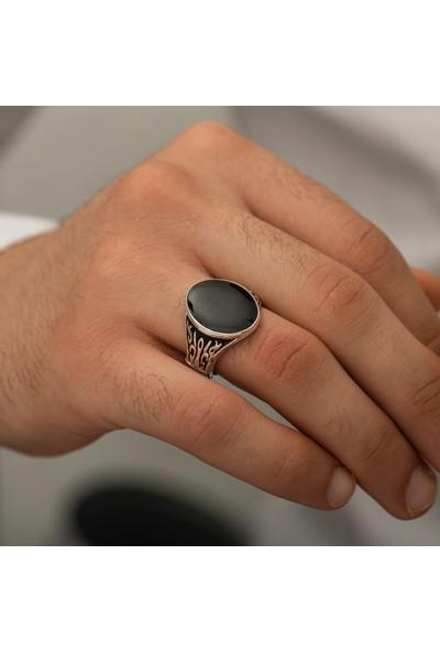 Ervanur Gümüş Kaplama Siyah Mineli Oval Erkek Yüzük