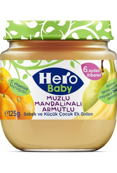 Hero Baby Muz Mandalina Armut Püreli Kavanoz Mama 125 gr 12'li Set