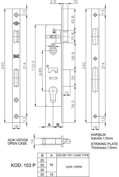 Kale 153-P Silindirli Gömme Kilit/Gövde Krom 20 Mm