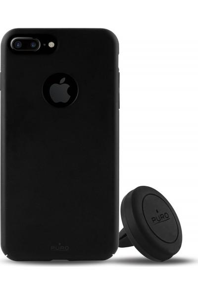 Puro Magnet iPhone 7/8 Plus Kit Cover + Holder Black