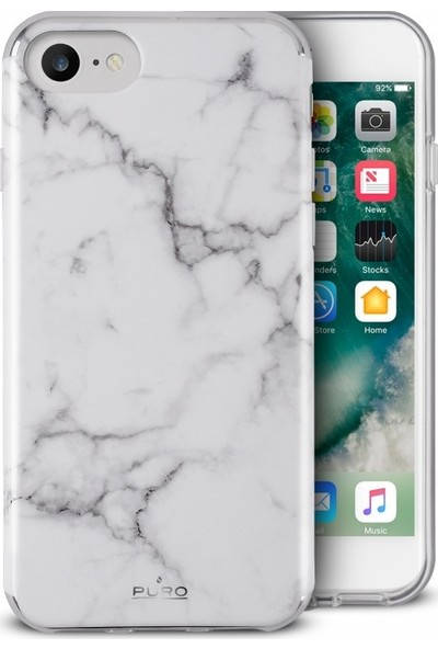 Puro Marble Cover iPhone SE 2020 / iPhone7 / iPhone8 Statuary White