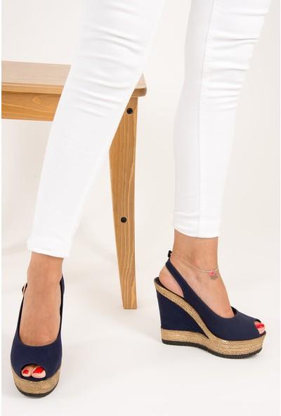 Fox Shoes Lacivert Kadın Dolgu Topuklu Ayakkabı 9674070805