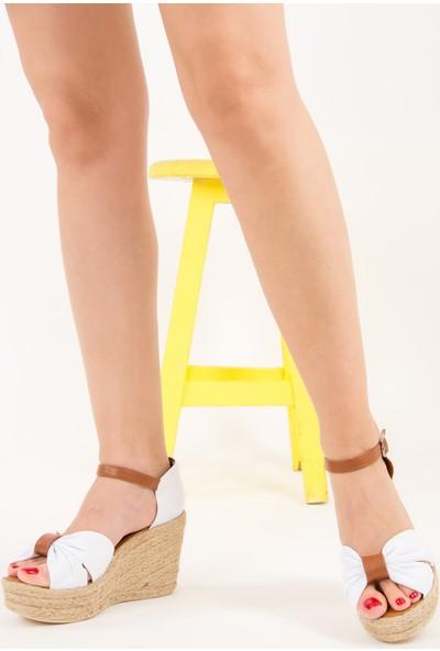 Fox Shoes Beyaz Kadın Dolgu Topuklu Ayakkabı F432162205