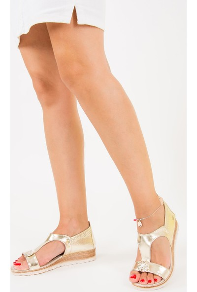 Fox Shoes Altın Kadın Dolgu Topuklu Ayakkabı F490098014