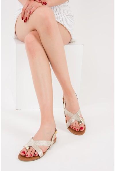 Fox Shoes Altın Kadın Sandalet F713008014