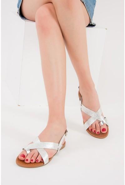 Fox Shoes Gümüş Kadın Sandalet F713008014