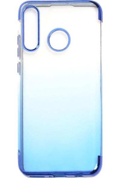 Coverzone Samsung Galaxy A30 Kılıf Dört Köşeli Colored Şeffaf Silikon