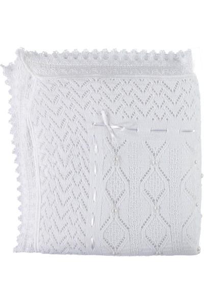 Mızmız Bebe Mızmız Bebe Elyaflı İncili Battaniye Beyaz