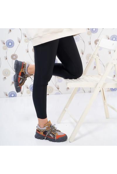 Park Moda Kadın Günlük Üstü Taşlı Spor Ayakkabı Kahve-Füme