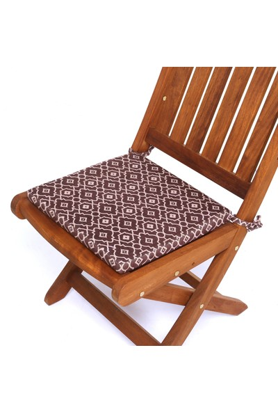 Seduna Remini Kahve Desen Kumaş Sandalye Minderi 40 x 40 x 3 cm