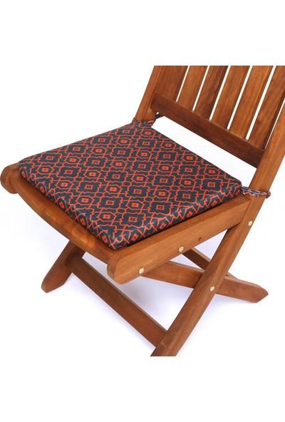 Seduna Remini Turuncu Desen Kumaş Sandalye Minderi 40 x 40 x 3 cm