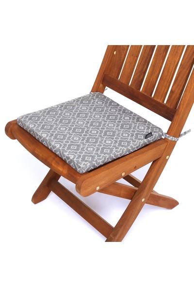 Seduna Remini Gri Desen Kumaş Sandalye Minderi 40 x 40 x 3 cm