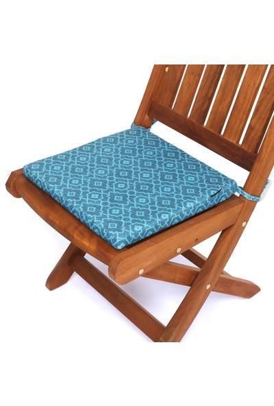 Seduna Remini Turkuaz Desen Kumaş Sandalye Minderi 40 x 40 x 3 cm