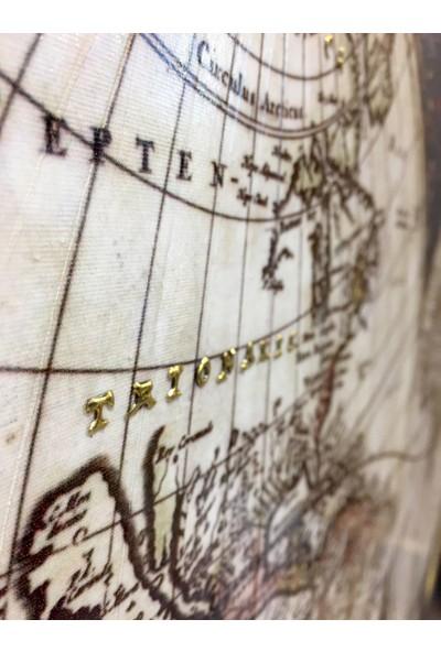 Tablosan Eski Dünya Haritası Kabartma Uygulamalı Kanvas Tablo