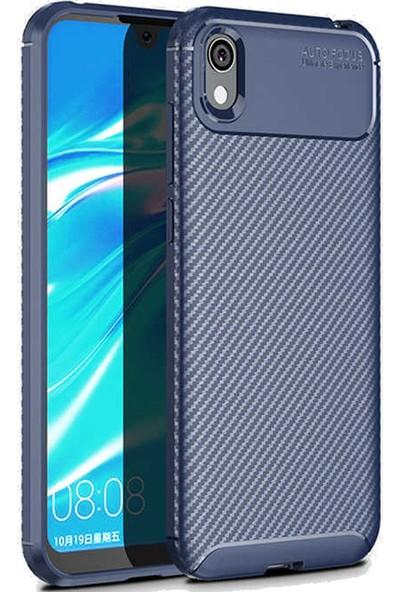 Coverzone Huawei Y5 2019 Kılıf Pc Karbon Delüx Tpu Silikon Lacivert