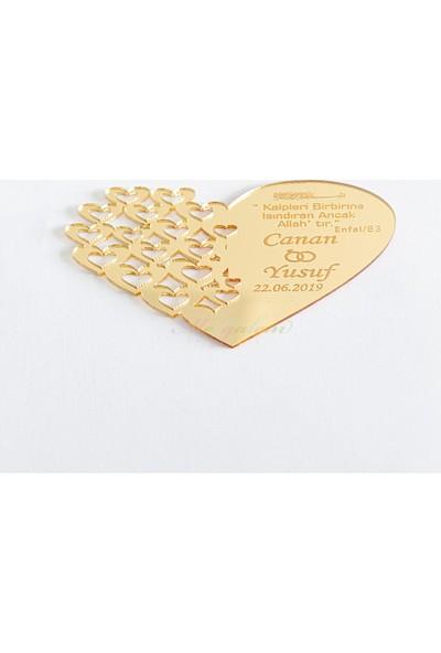 Meşgalem Kalpli Pleksi Magnet Gold Dualı ( Söz, Nişan, Kına, Düğün, Doğum Günü)