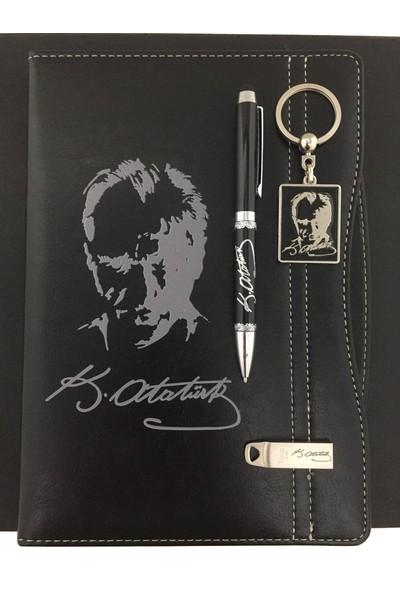 Ahşap Kutuda Atatürk Fi̇gürlü Defter & Kalem & Anahtarlik & USB Bellek