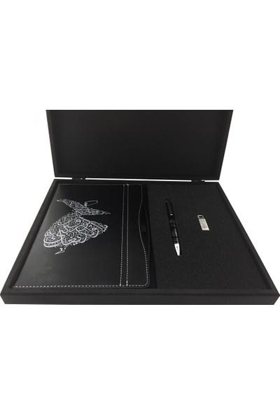 Ahşap Kutuda Semazen İşlemeli̇ Defter & Kalem & USB Bellek Set