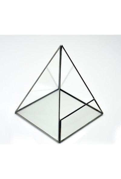 El Crea Designs Siyah Geometrik Teraryum Cam Fanus