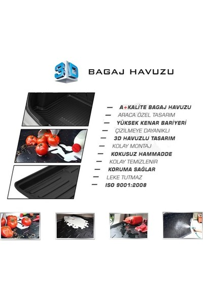 Rizline Hyundai I20 2014 Sonrası 3D Bagaj Havuzu