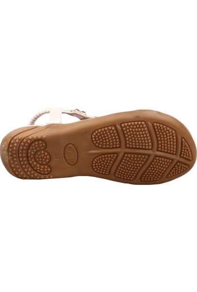 Guja 19Y205-22 Kız Çocuk T-Strap Silver H Taşlı Sandalet Beyaz