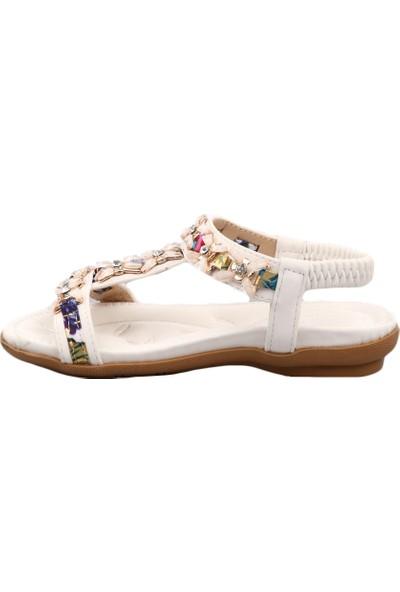 Guja 19Y206 Kız Çocuk T-Strap Taşlı Sandalet Beyaz