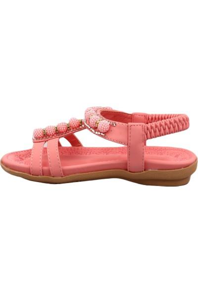 Guja 19Y206-7 Kız Çocuk T-Strap Boncuklu Sandalet Pembe