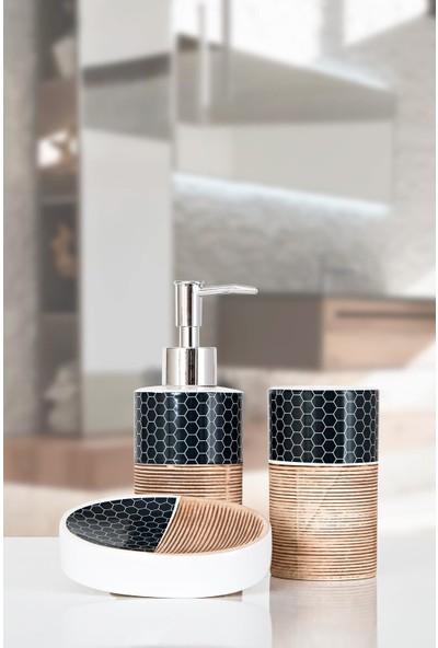 İrya Home More 3 Parça Banyo Seti Aden Kahve