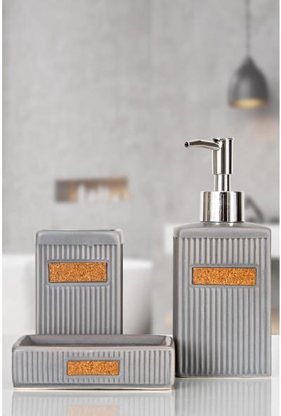 İrya Home More 3 Parça Banyo Seti Luvı Gri