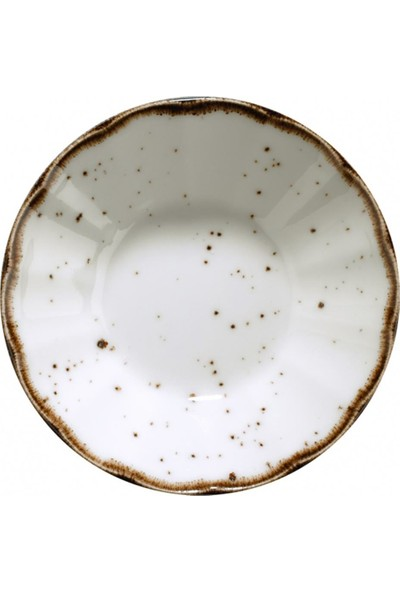 Kütahya Porselen Corendon Atlantis 6 Adet Krem Benekli Fileli Çay Tabağı