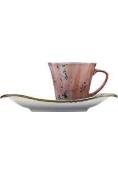 Kütahya Porselen Carla Kahve Takımı Pembe Benekli 6 lı
