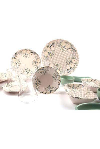Keramika Keraart 4 Kişilik 19 Parça Renkli Kahvaltı Seti