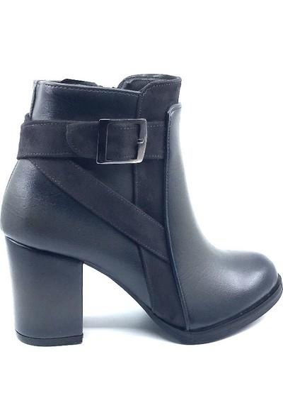 Bono Siyah Kışlık Topuklu Kadın Botu
