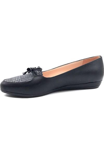 Christina Rose 002 Siyah İplikli Günlük Kadın Babet Ayakkabı