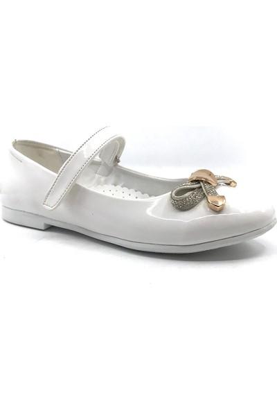 Rüzgargülü Beyaz Günlük Abiye Cırtlı Kemerli Tokalı Kız Çocuk Babet Ayakkabı