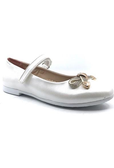 Rüzgargülü Kırık-Beyaz Günlük Abiye Cırtlı Kemerli Tokalı Kız Çocuk Babet Ayakkabı