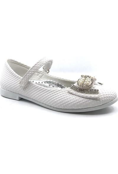 Sema Beyaz Günlük Abiye Cırtlı Kemerli Tokalı Kız Çocuk Babet Ayakkabı