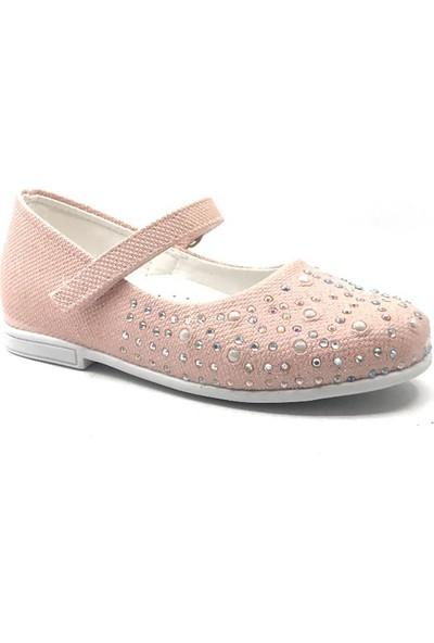 Sema Kids Bebe Pembe Kız Taşlı Babet Ayakkabı