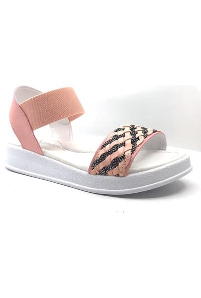 Sema Kids Pembe-Gümüş Günlük Kız Çocuk Sandalet