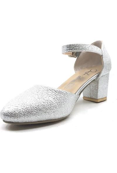 Sema Gümüş Günlük Abiye Cırtlı Tokalı Kız Çocuk Babet Ayakkabı