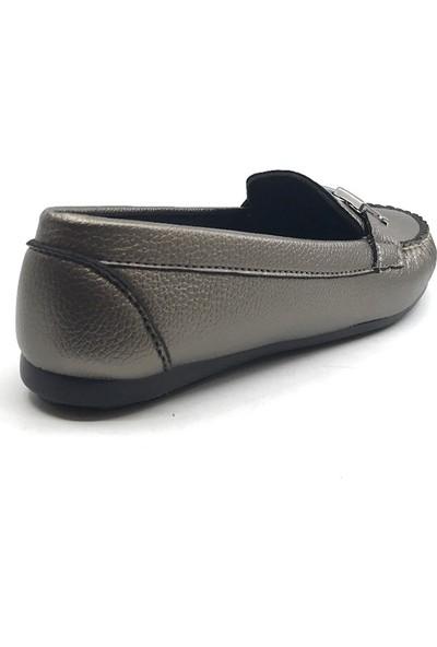Piolin Platin Günlük Kadın Babet Ayakkabı